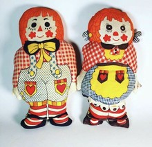 Vintage handmade Raggedy Ann and Andy Plush Dolls - $11.88