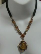Vintage Designer Signed FELICIA AB Rhinestone Faux Pearl Cameo Pendant Necklace - $24.74