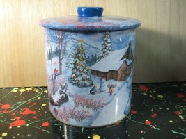 Christmas Coordinate Canister Tin with Lid - Winter Scene by Santa's Wor... - $8.25
