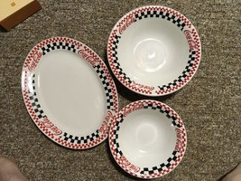 Lot 3 GIBSON COCA COLA CHECKERBOARD DINNERWARE PLAtter Cereal Salad BOWL - $35.00