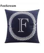 Velvet Cushion Covers Gray Decorative Pillows Cases Letter Cushion Cover... - $19.99
