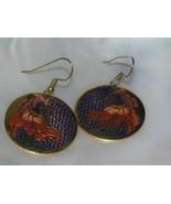 Estate Large Purple & Pink Enamel IRIS Flower Cloisonne Dangle Earrings ... - $13.99