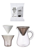 """300 ml (2 Cups) Carafe Coffee Set with 80 Filters by Kinto for """"Slow"""" Co... - $38.60"""
