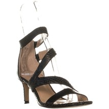 Franco Sarto Celia Strappy Evening Sandals, Black Snake, 7.5 US / 37.5 EU - $32.63
