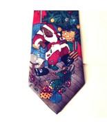 Thinking of You Ties Sleeping Santa Bear Christmas Novelty Tie Red Backg... - $24.14