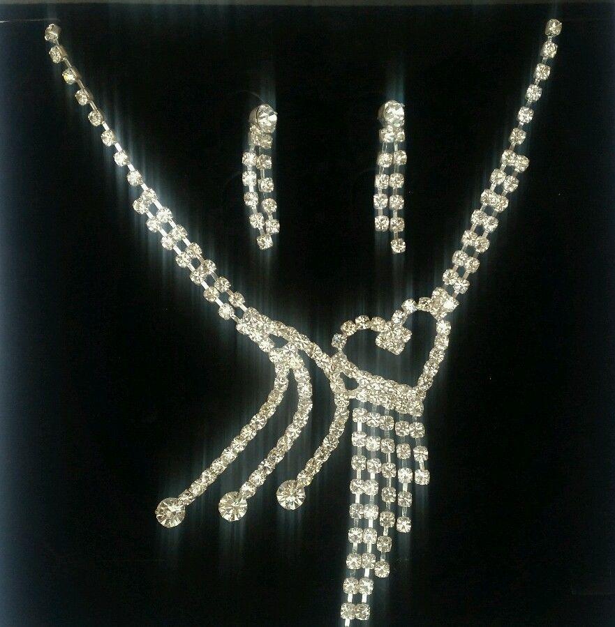 Elegante y Bollywood Bañado en plata Diamantes Sorprendentes Collar Corazón
