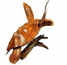 Beautiful Huge Hand Carved Teak Wood Turtle Ocean Coral Statue One of Kind - $138.54