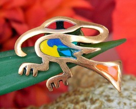 Vintage Bird Colorful Enamel Copper Abstract Lapel Pin South America - $22.95