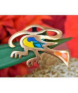 Vintage Bird Colorful Enamel Copper Abstract Lapel Pin South America - £17.55 GBP