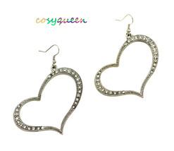 Women new silver diamante curved heart hook pierced earrings - ₹1,367.54 INR