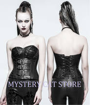 NEW Punk Rave Gothic Black Leather Fetishista Corset Top Y-773 FAST POSTAGE - $66.06