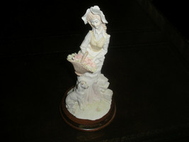 VINTAGE FIGURINE A. BELCARI COLLECTIBLE FINE PORCELAIN LADY FLOWERS DOG - $39.99