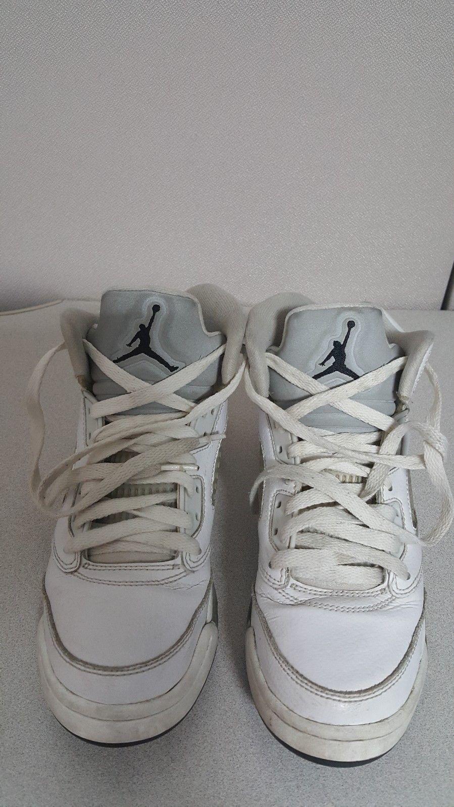 31dd3d48b5cb AIR JORDAN 5 V Retro BG White Basketball Shoe Pre Owned Size 5.5 440888-130