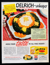 Vtg 1950 Delrich Margarine retro advertisement print ad art with recipe - $12.99