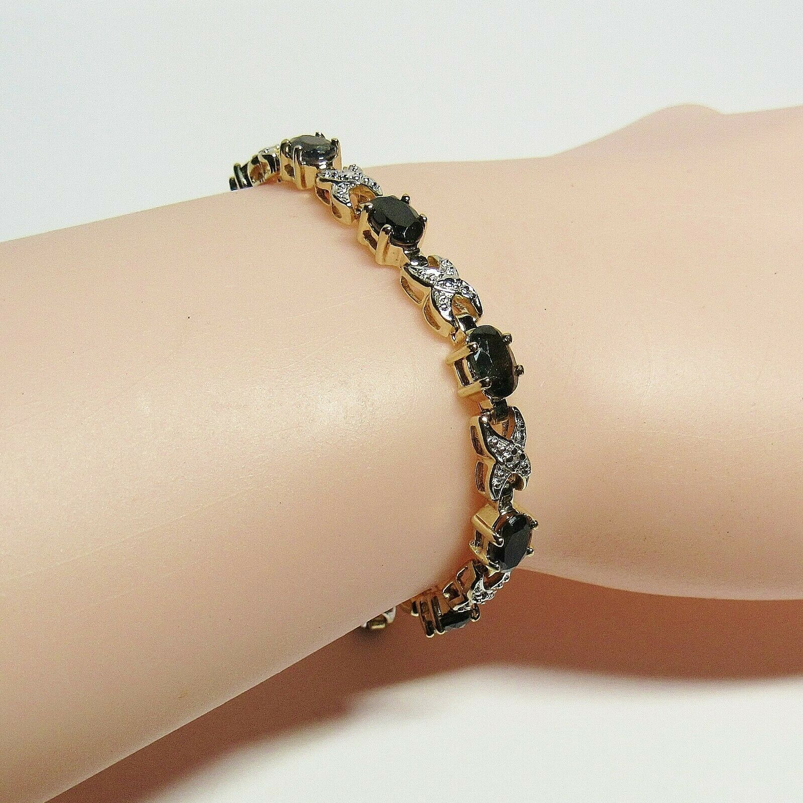 "HSN Technibond Gold Sterling Silver Sapphire Diamond Gemstone Tennis 7"" Bracelet image 4"
