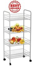 4 Tier Fruit And Vegetable Storage Rack Organizer,Stainless Steel, white - $41.98