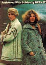 Vtg Misses Child Men Bernat Bulky Vest Sweater Coat Knit Crochet Patterns - $11.99