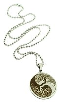 "Yin Yang Tree Of Life Etched Steel Pendant 20"" Ball Chain Necklace Pagan Boho"