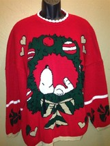 Vintage RARE Peanuts 70's Ugly Christmas Sweater Snoopy Wreath Snoopy & ... - $98.99