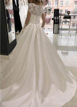 Splendid Tulle High Neckline A-line Long Sleeves Crystals Button Down Wedding Go image 3