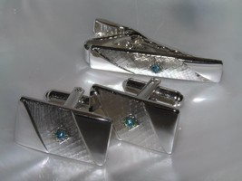 Vintage SARAH COV Signed Demi Silvertone with Blue Rhinestone Cuff Links... - $12.19