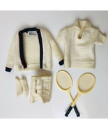 Vintage Ken Tennis Outfit Sweater Jacket Top Shorts 2 Racquets Outfit 79... - $32.62