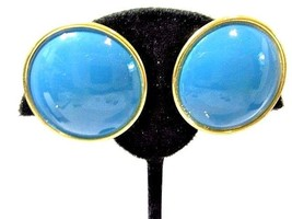 VINTAGE MEDIUM BLUE ENAMEL GOLD TONE CLIP ON EARRINGS VINTAGE SIGNED TRI... - $24.00