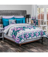 Turquise Purple Flowers Comforter KING SIZE 5PC Soft Bedding Gift Lily Teens - $143.55