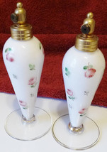 Exquisite PAIR Antique West Germany Perfume Atomizer Bottles - Opaq w/Roses - $149.50