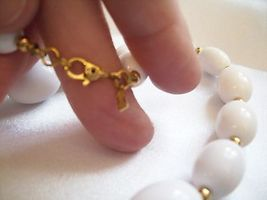 MONET White OVAL Beads Necklace CHOKER Gold Plated Spacers Vintage Estate Career image 7