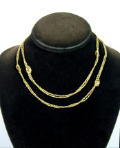 Avon KNOTTED Double Strand NECKLACE Vintage Goldtone Love Knot Twisted C... - $12.99