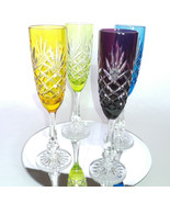 Faberge  Odessa Crystal Colored  Flutes in the original box - $995.00