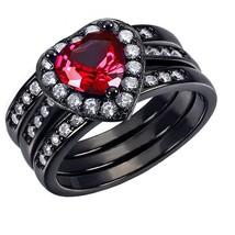 Women's Sterling Silver July Birthstone Ruby Wedding Ring band Set Size ... - $31.99