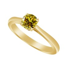 0.50 Ct Yellow Citrine 10k Yellow Gold Over Solitaire Wedding Engagement... - $79.99