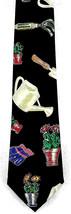 Gardening Men's Necktie Flower Garden Novelty Gardener Gift Black Neck Tie - $15.79