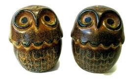 Large Vtg Fitz & Floyd Drip Pottery Wide Eye Owl Salt Pepper Shaker Set ... - $34.99