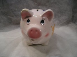 BIG WHITE SMILING PIG PIGGY BANK WITH FLOWERED ACCENTS ON BODY, LONG EYE... - $18.81