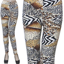 Aztec Brushed Leggings Animal Print  One Size Fits Most Stretch Pants Sp... - $11.00