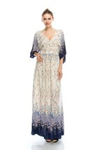 Lacey Cream and Purple Romantic Maxi Dress S M or L - $44.99