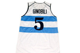 Manu Ginobili #5 Argentina Visa Men Basketball Jersey White Any Size image 5