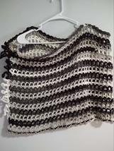 Hand Crocheted Lacy, Black, Gray and White Poncho with Loopy Fringe - $22.00