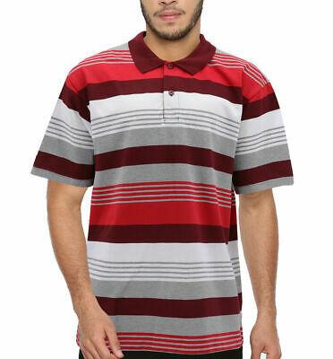 Men's Striped Lightweight Cotton Blend Mesh Classic Polo Shirt 5XL w/ Defect