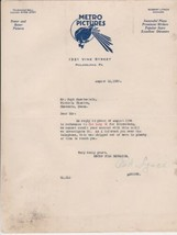 U.S. Metro Pictures Logo PA 1920 Old Lady 31 Film Shipped Late Letter Re... - $24.29