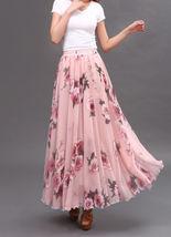 Women Pink FLORAL Chiffon Long Skirt A-line Flower Long Chiffon Skirt Summer  image 1