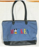 Vintage Mickey Mouse Walt Disney Embroidered Canvas Leather Large Blue T... - £22.01 GBP
