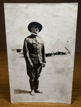 World War I WWI WW1 Photo Snapshot Army Soldier in New Uniform Posing Picture - $10.00