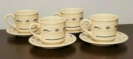 Longaberger Pottery Set of 4 Woven Traditions Cups & Saucers Classic Green - $29.65