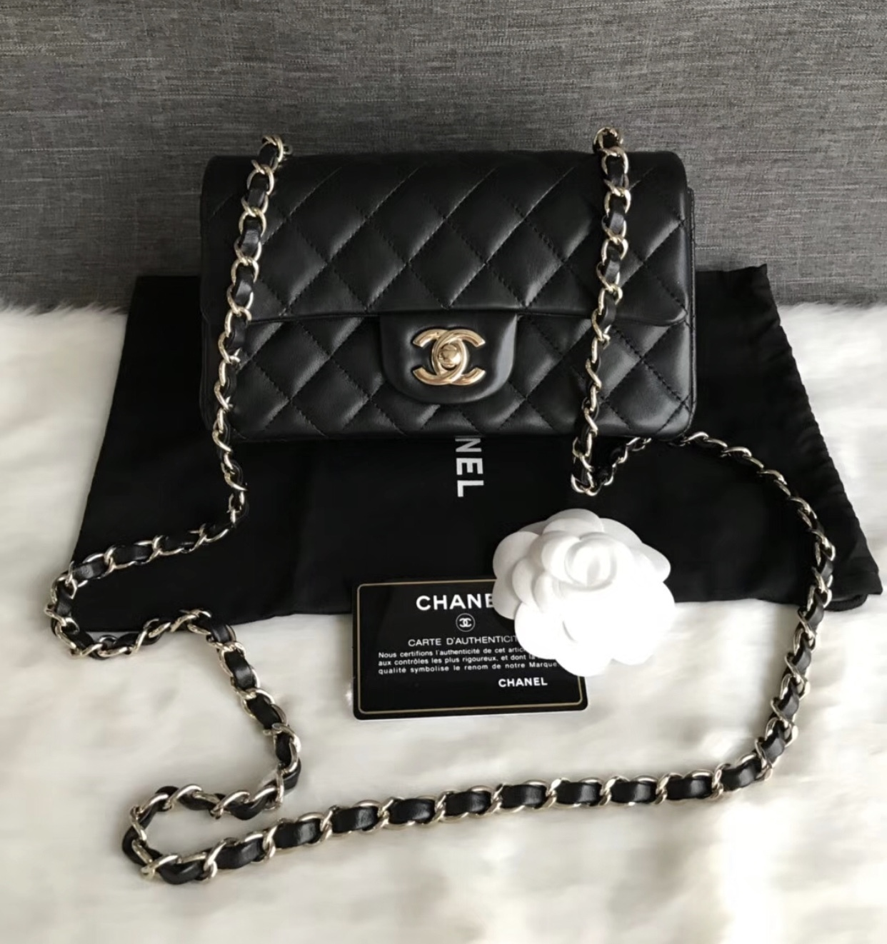 AUTHENTIC CHANEL BLACK QUILTED LAMBSKIN LARGE MINI RECTANGULAR FLAP BAG GHW