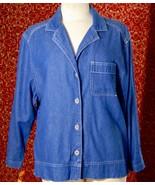 JESSI LEE blue cotton blend denim long sleeve shirt Jacket 14 (T05-01J8G) * - $7.90