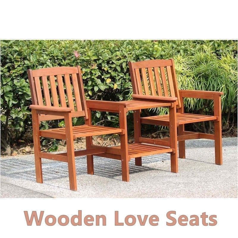 Wooden Love Seat Solid Garden Patio Pair Of Armchairs Set  & Side Table Compact  image 4